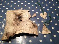 Materiale til birkebark hjerte og juletræ
