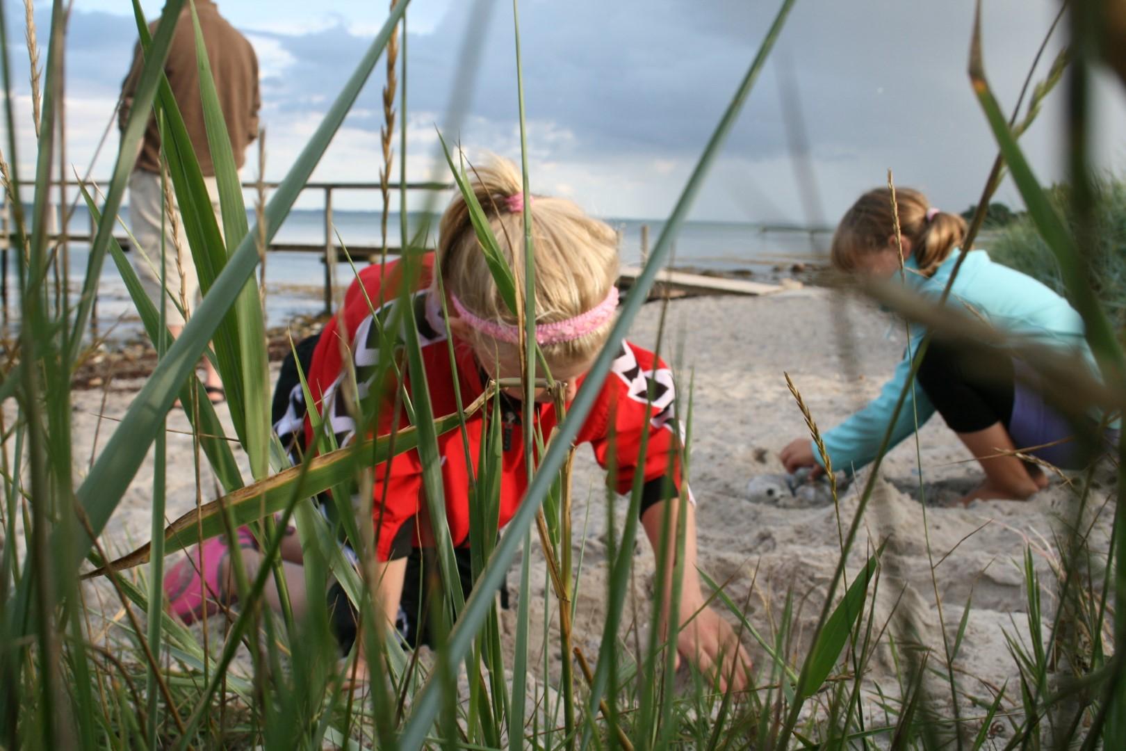 Børn leger på stranden