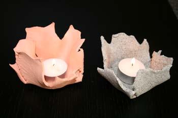 Lys lavet af fimoler med bladtryk