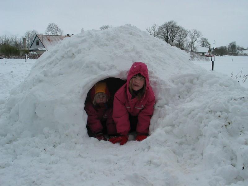 Fin snehule som 2 børn kikker frem fra