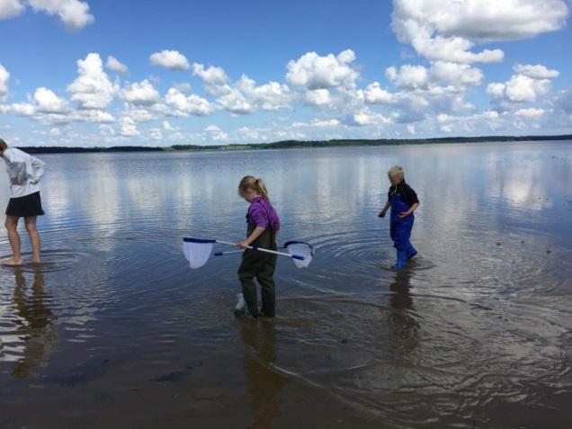 Børn som fisker ved fjorden