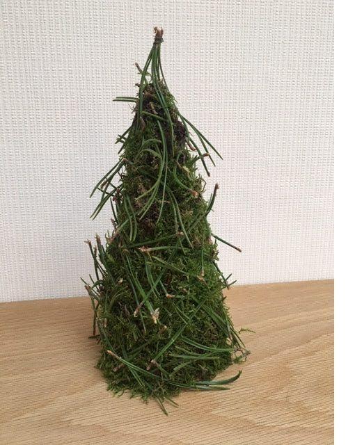 Juletræ lavet af mos og grannåle