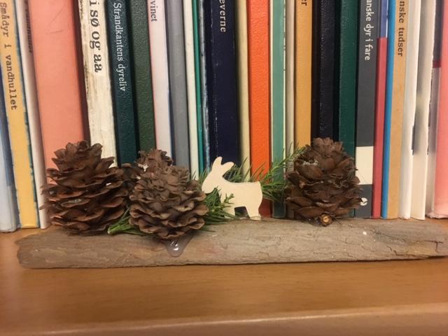 En lille kogleskov lavet på en stykke træ