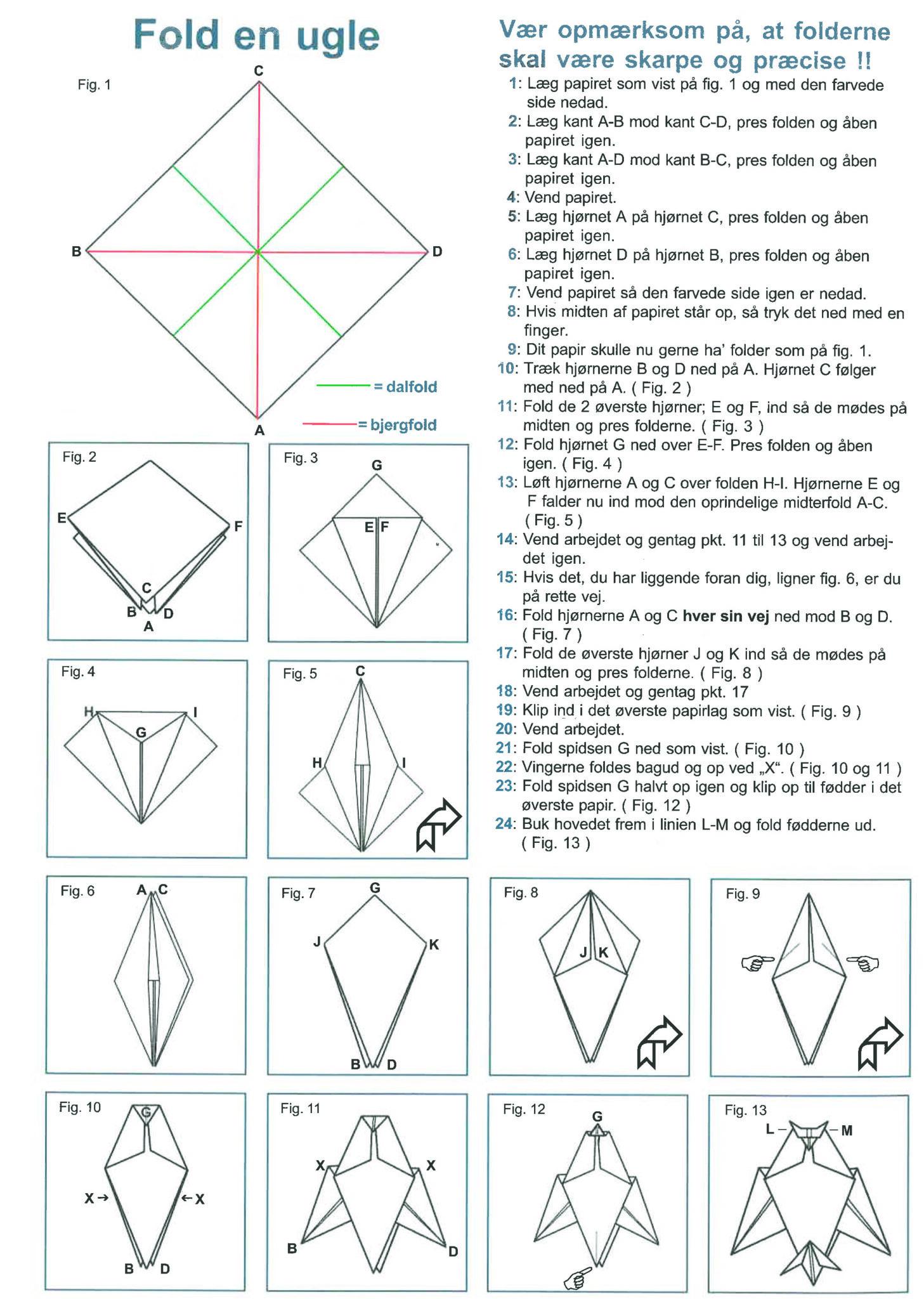 Sådan folder du en papirugle