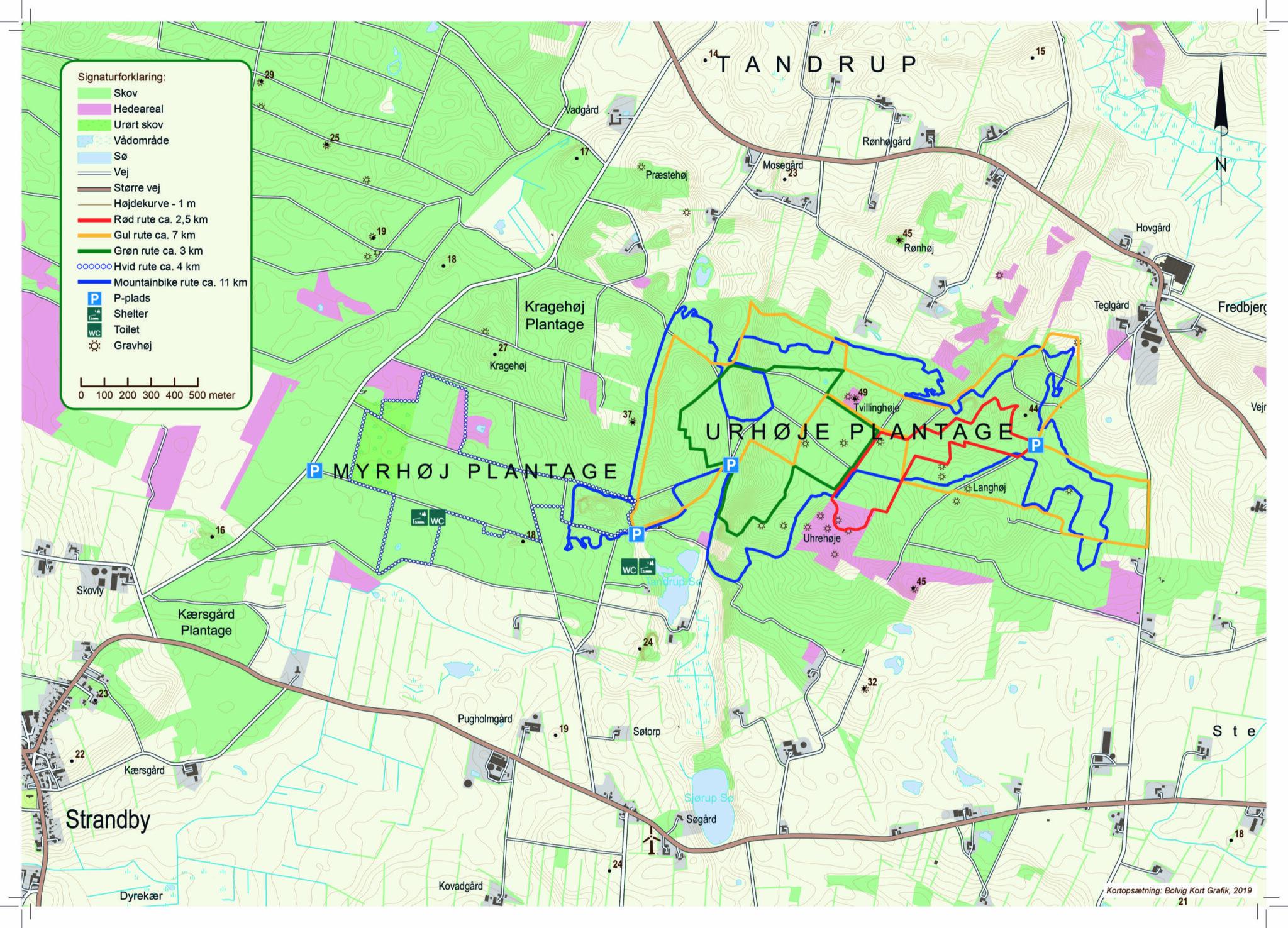 Kort over Uhrehøje og Myrhøje plantage