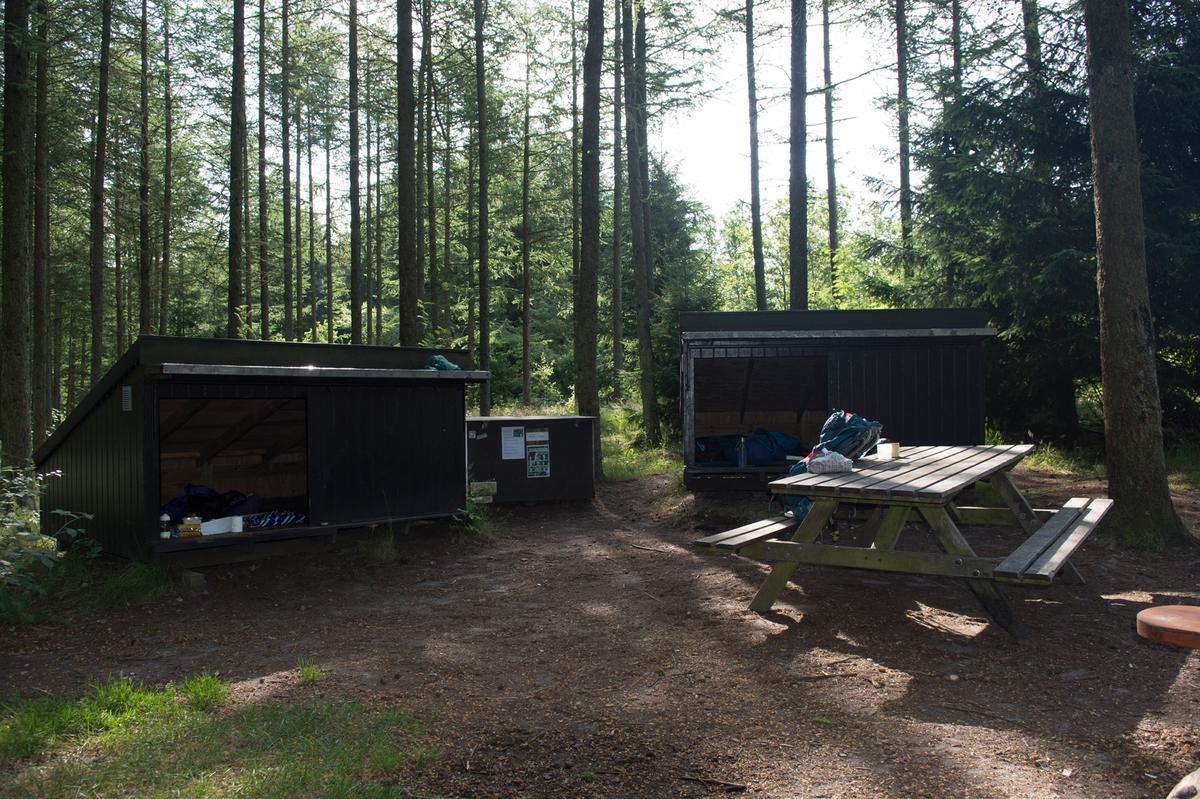 Shelters ved naturbasen i Jenle